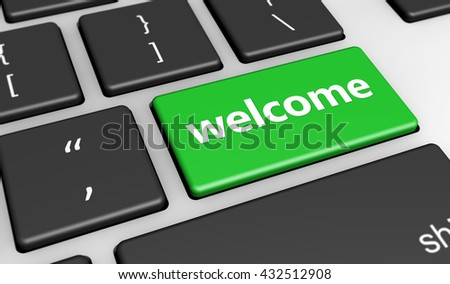 Welcoming website and blog concept with welcome sign and word on a green computer key 3D illustration.