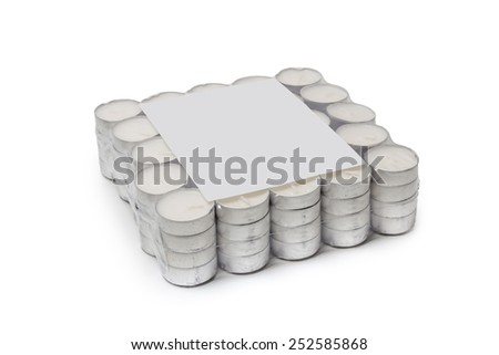 welded package of tea lights isolated on white background - stock photo