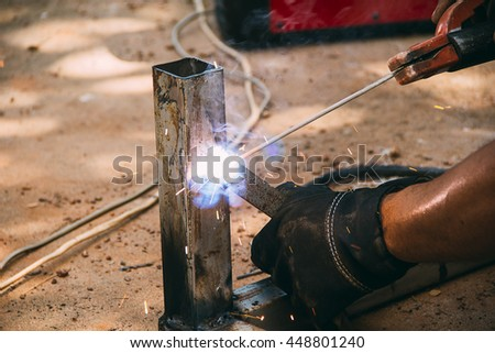 Welder at work, soft focus, selective focus