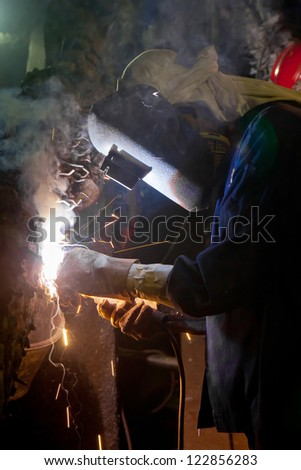 Welder construction in factory industrial