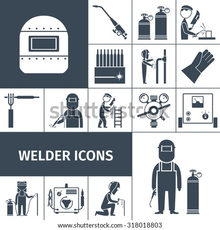 Welder decorative icons black set with worker equipment isolated  illustration