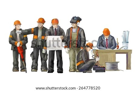 Welder, electrician, jack hammer worker, deputy manage, architect and project manager. Builders working on construction works illustration - stock photo