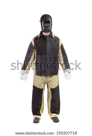 Welder in workwear suit. Isolated on a white background.