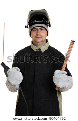 Welder on a white background. - stock photo