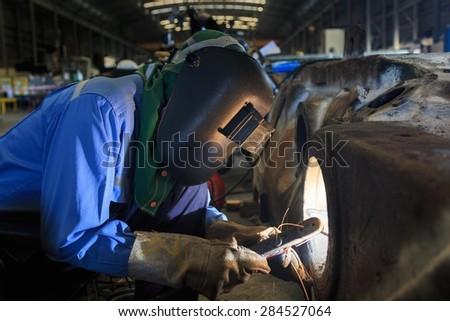 Welder repair bore by shield metal arc welding  - stock photo