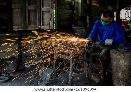 welder work hard - stock photo