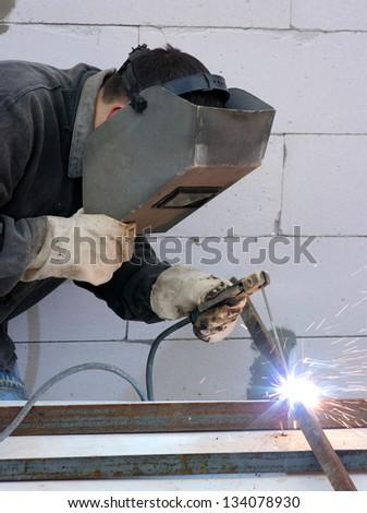welder worker - stock photo
