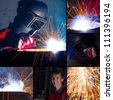 Welding collage - stock photo