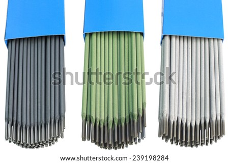 Welding Electrodes Isolated with Clipping Path - stock photo