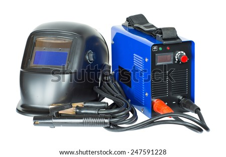 Welding machine and mask. isolated - stock photo