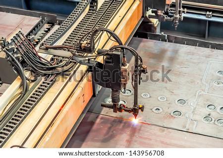 Welding Machine in iron factory - stock photo