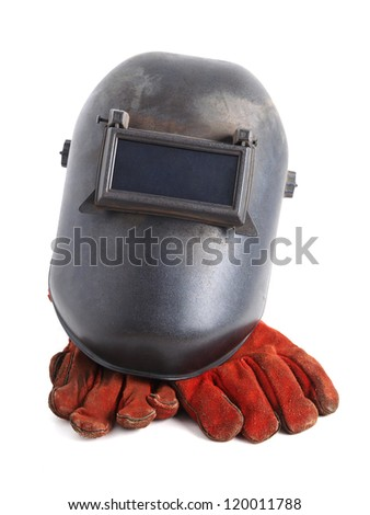 Welding mask and red gloves on white background - stock photo