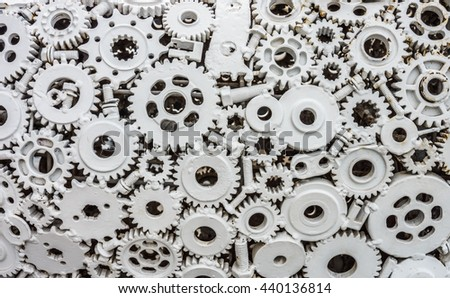 Welding metal joining work with white painting. The work is made of metal from unused material parts. - stock photo