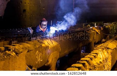 Welding repair and maintenance furnace industrial - stock photo