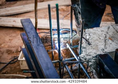 Welding steel - stock photo