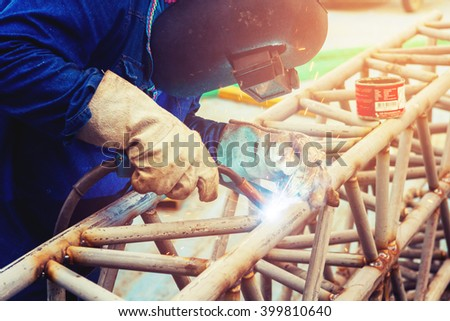 Welding steel to the construction industry. - stock photo