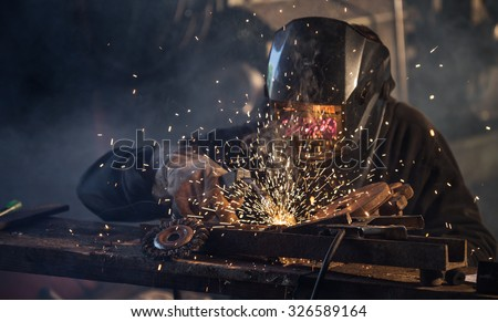 Welding work. - stock photo
