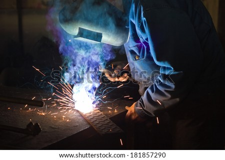 Welding work,best focus on the right hand and the handle for welding