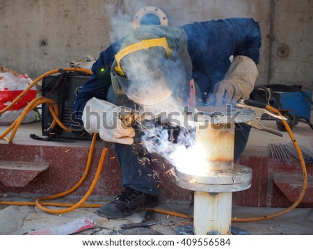 Welding work for steel pipe