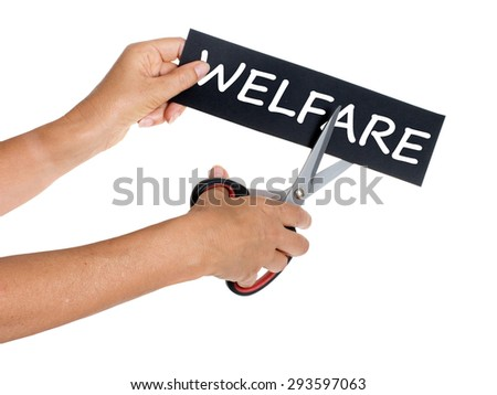 Welfare cuts - scissors in female hands. Isolated on white.