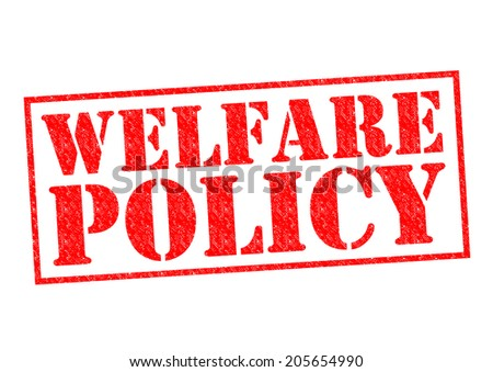 WELFARE POLICY red Rubber Stamp over a white background. - stock photo