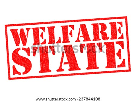 WELFARE STATE red Rubber Stamp over a white background. - stock photo