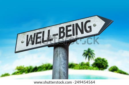 Well-Being sign with a beach on background - stock photo