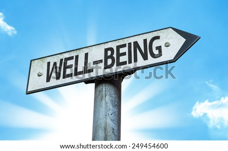 Well-Being sign with a beautiful day - stock photo
