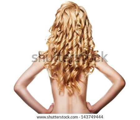 Well-being & spa. Sensual woman model with shiny curly long blond hair isolated over white. Health, beauty, wellness, haircare, cosmetics - stock photo