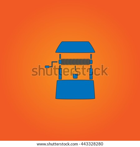 well Blue flat icon with black stroke on orange background. - stock photo
