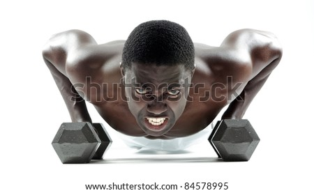 Well built muscular man doing press-ups