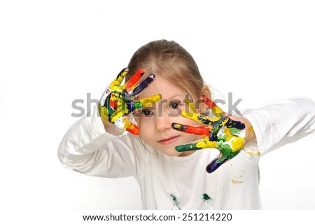 Well... but you have to see my drawings. Little girl painted her hands all over.  - stock photo