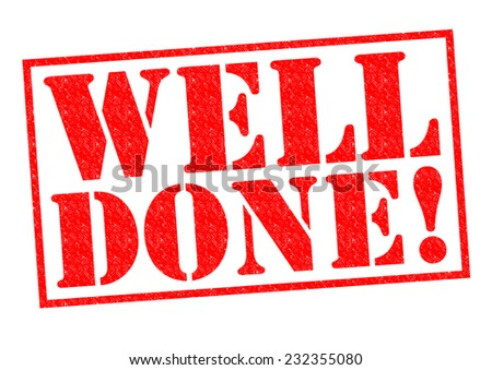 WELL DONE! red Rubber Stamp over a white background. - stock photo
