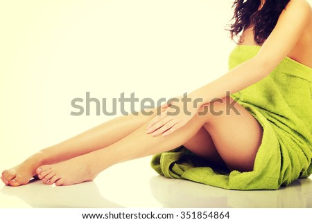 Well groomed female legs after depilation.