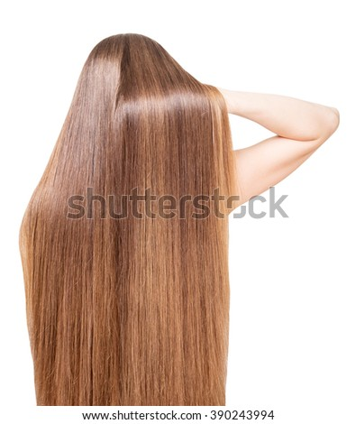 Well-groomed, shiny, long hair flowing back girl isolated on white background.