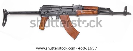 Well known traditional AK-47 kalashnikov assault rifle. - stock photo