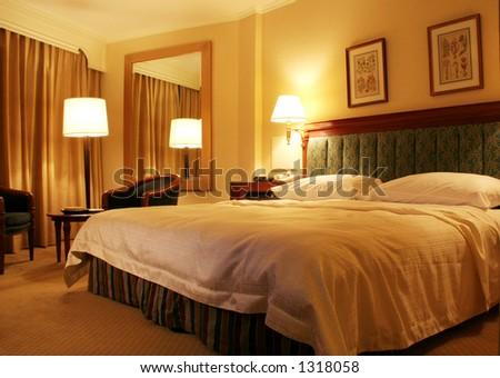 Well-lit Hotel Room - stock photo