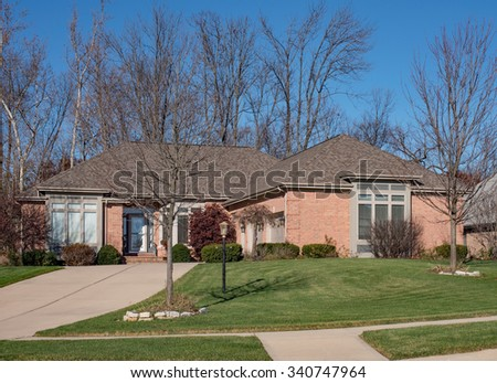 Well Manicured Luxury Home - stock photo