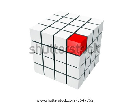 well-organized located group of cubes of red and white colors on white background - stock photo