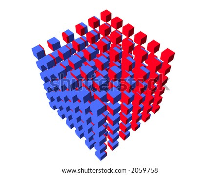 well-organized located group of cubes of red-blue color on white background - stock photo