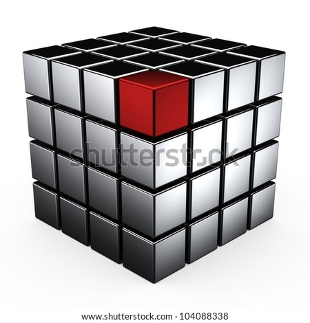 Well-organized located group of metal Cubes of red and white colors on white background - stock photo