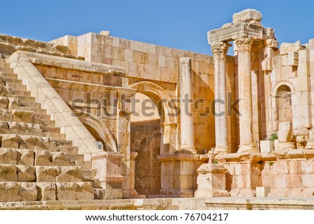 Well preserved and restored ruins of Jerash (Gerasa, Greco-Roman city of Antiquity), Jordan