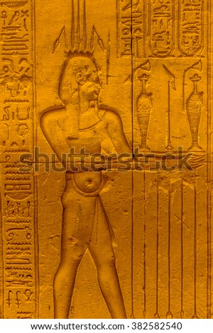 Well preserved authentic real Egyptian hieroglyphs on the wall in a temple