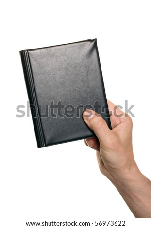 well shaped business man hand with an orgonaizer isolated over white - stock photo