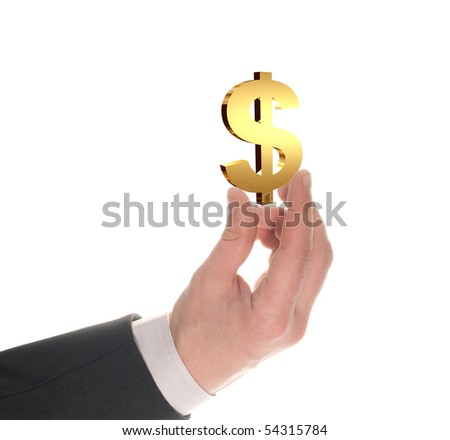 well shaped businessman's  hand with usd gold symbol