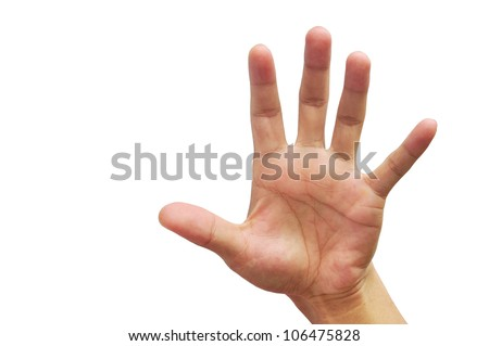 well shaped men hand reaching for something isolated on white