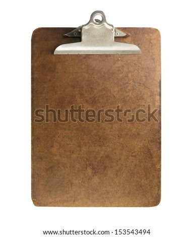 Well used old clipboard, isolated on white. - stock photo