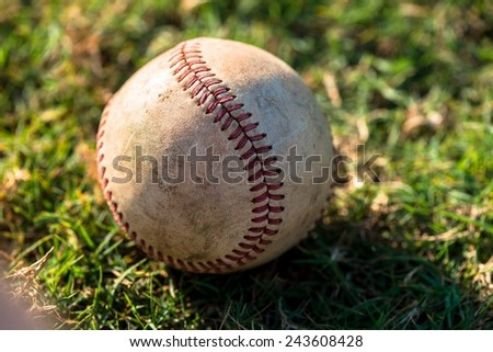 Well Worn Baseball Close Up on Field