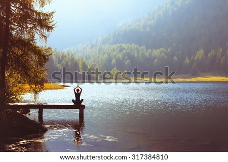 wellbeing and healthy lifestyle concept, yoga background - stock photo