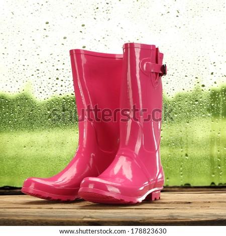 wellies rain and red color  - stock photo